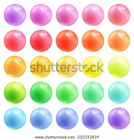 Set of colorful round vector spheres or balls in pastel colors of the rainbow with reflective shiny dimensional surfaces for celebrating Christmas New Year - stock vector
