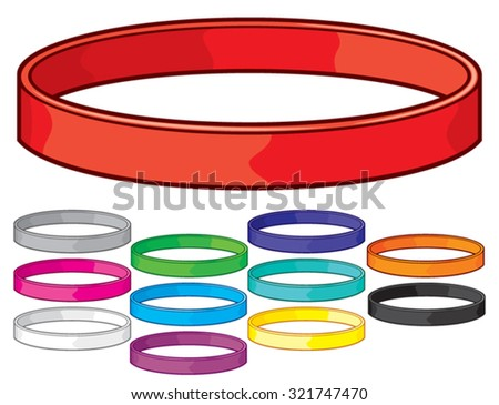 set of colorful rubber bracelets (colorful wristbands collection) - stock vector