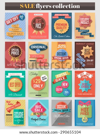 Set of colorful Sale flyers. Best creative design for Sale and Discount Offers poster, placard, brochure, banner, presentation with place for text. Vector illustration. - stock vector