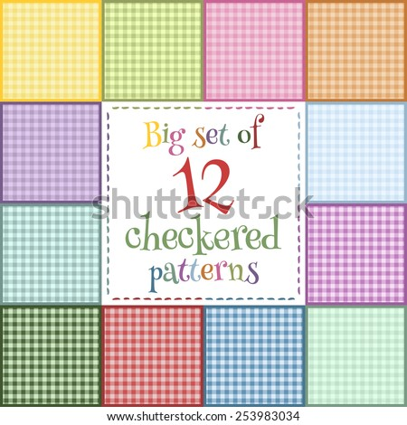 Set of 12 colorful seamless checkered cloth for a picnic in bright colors: yellow, blue, pink, red, green, orange, purple. Seamless texture. Cooking tablecloth, fabric, material, textile. - stock vector