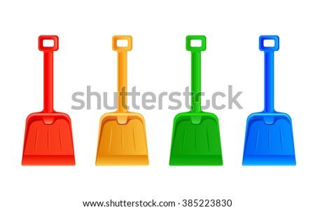 Set of colorful shovel isolated on white background, illustration. - stock vector