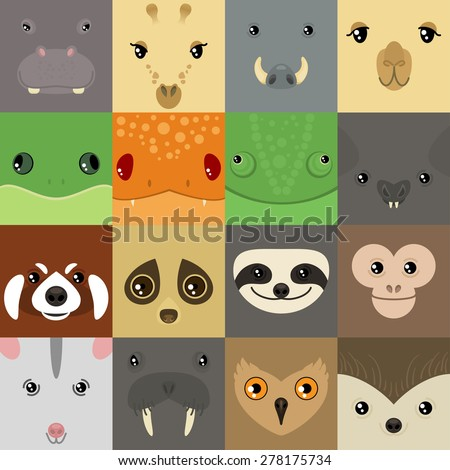 set of colorful simple animal faces - stock vector
