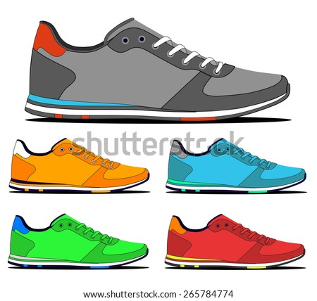 Set of colorful sneakers. vector