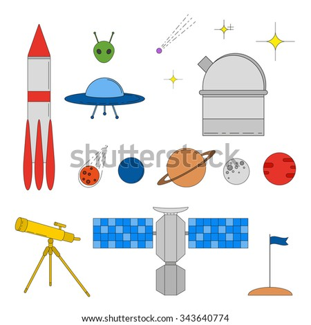Set of colorful space and astronomy linear icons. Thin line colorful icons. Planets, stars, rocket, ufo, alien, satellite, asteroid, moon, flag, telescope. - stock vector