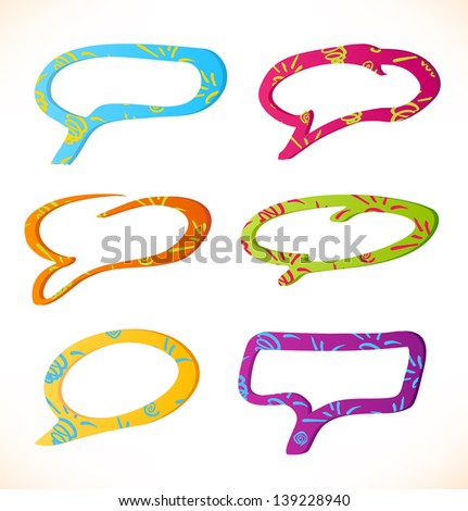 Set of colorful speech and thought bubbles - stock vector