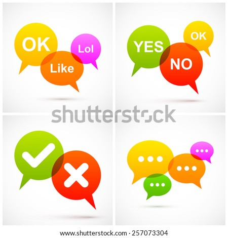 Set of colorful speech bubbles. - stock vector