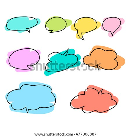 Set of colorful speech bubbles on white background. Collection of hand-drawn speech bubbles. Eps 10 vector.