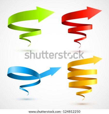 Set of colorful spiral arrows 3D. - stock vector