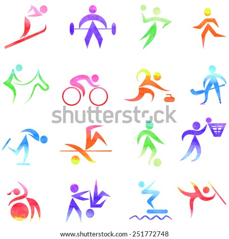 Set  of colorful sport icons,  - stock vector