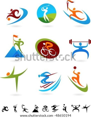 Set of colorful sport icons - 2 - stock vector