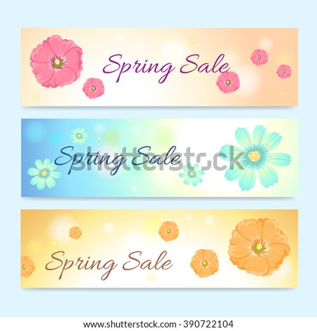 Set of colorful spring season sale banner - stock vector