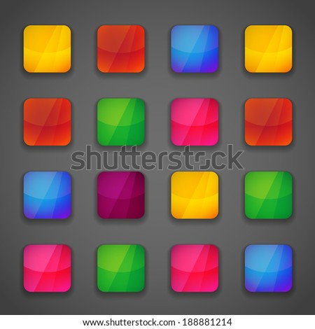 Set of colorful square button icons for your design in vivid bright colors of the rainbow - stock vector
