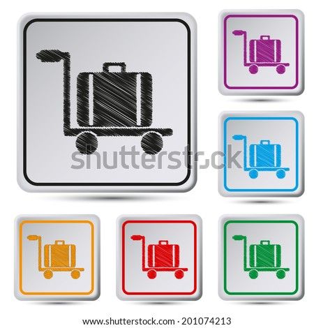 Set of colorful square button.Vector illustration  Luggage trolley vector icon