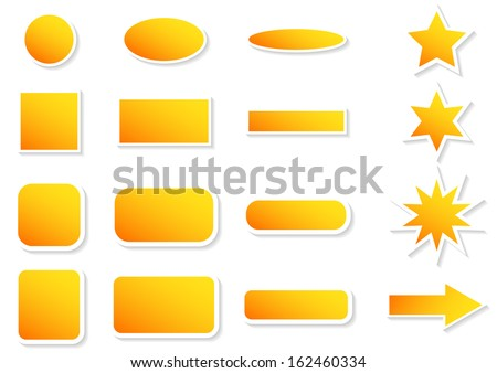 Set of colorful stickers in different shapes with light shadow