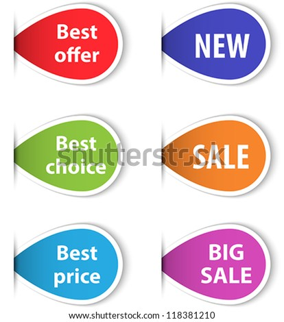 Set of colorful sticky labels for shopping. Vector illustration