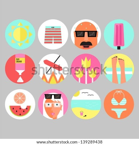 Set of colorful summer and beach icons. - stock vector