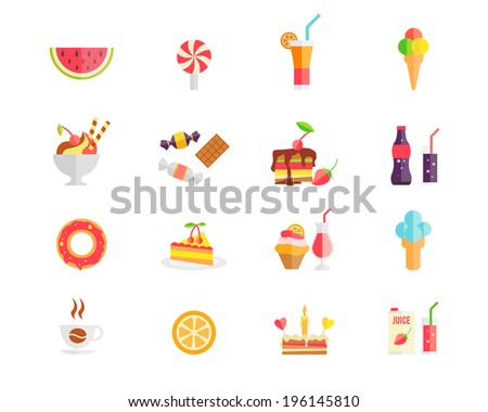 Set of colorful sweets  desserts and cakes icons with watermelon  ice cream cones  lollipop  sundae  parfait  candy  cookies  soda  doughnut  tart  cupcake  coffee  orange  birthday cake  and juice - stock vector