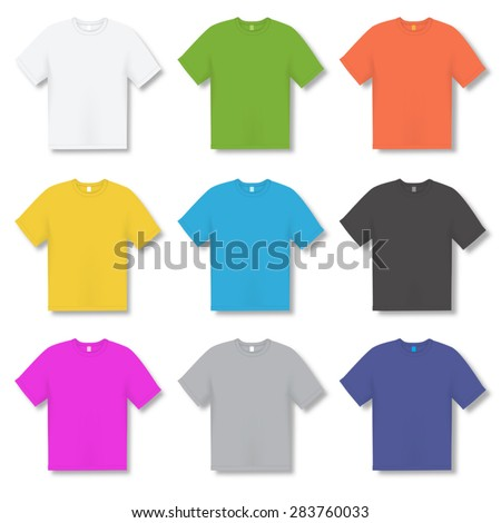 Set of colorful  t-shirts isolated on white. Vector illustration