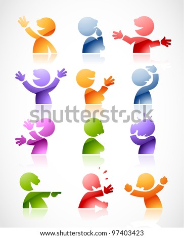 Set of colorful talking characters in various postures - perfect for infographics or comics - stock vector