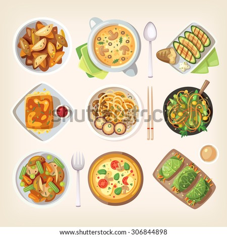 Set of colorful tasty healthy meatless dishes, cooked food from vegetarian cuisine - stock vector