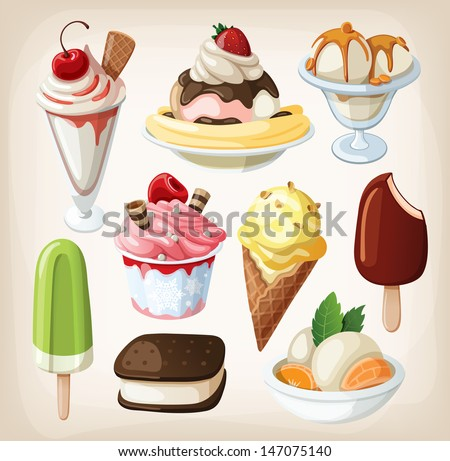 Set of colorful tasty isolated ice cream. - stock vector