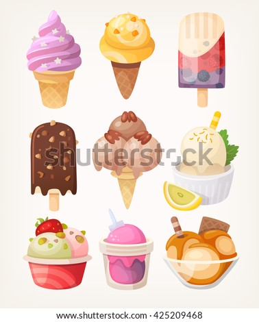 Set of colorful tasty isolated ice cream. Vector