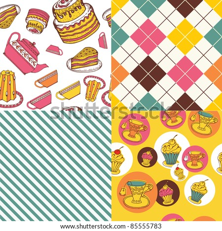 set of colorful tea&sweets patterns - stock vector