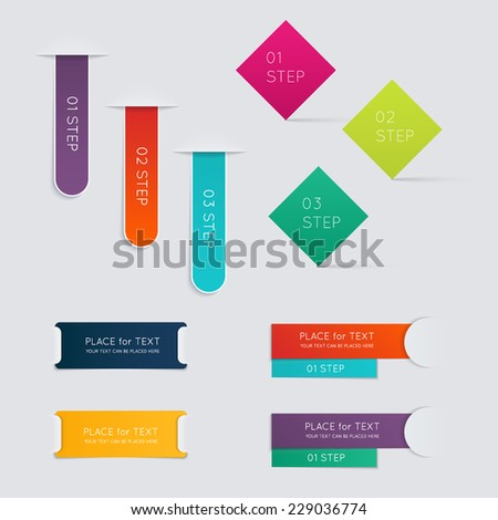 Set of colorful text box with steps, trendy colors. Vector illustration can be used for workflow layout, diagram, number options, web design. - stock vector