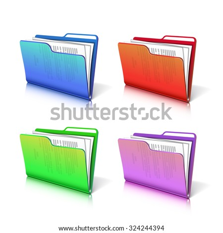 Set of colorful  transparent folder with papers. Document icon. Vector illustration. - stock vector