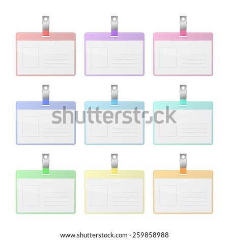 Set of colorful transparent identification cards with place for photo and text. Isolated on white background. Vector EPS10 illustration.  - stock vector
