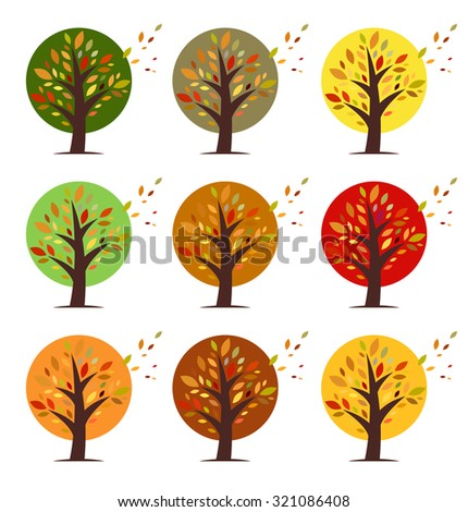 Set of colorful tree icons. Vector elements.