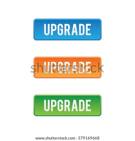 Set of Colorful Upgrade Buttons - stock vector