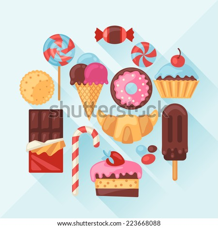Set of colorful various candy, sweets and cakes. - stock vector