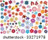Set of colorful vector floral elements - flowers - stock vector