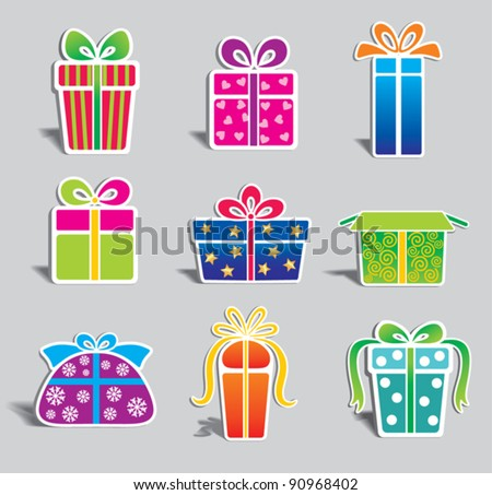 set of  colorful vector gift boxes . - stock vector