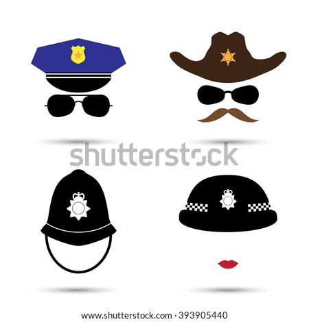 Set of colorful vector icons isolated on white. Policeman icon.  Sheriff icon. Cowboy icon. British police helmet  - stock vector