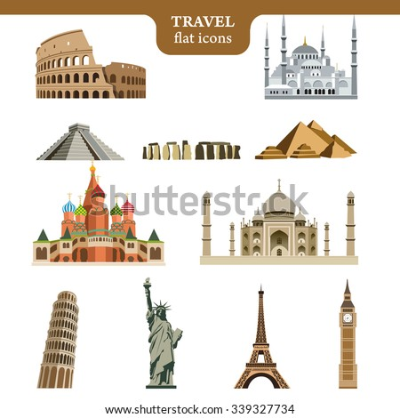 Set of colorful vector icons of the most famous places in the world on wight background - stock vector