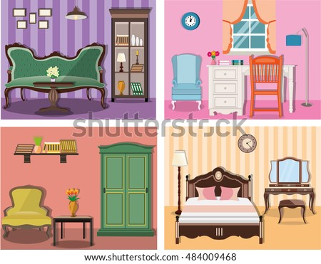 Set Of Colorful Vector Interior Design House Rooms With Furniture Icons