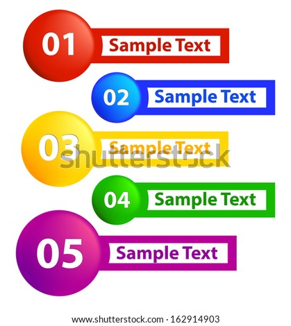Set of colorful vector numbered stickers. Abstract pattern for design and presentations.