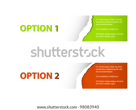 Set of Colorful Vector Sample torn off stickers for various options - stock vector