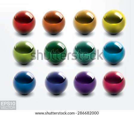 Set of colorful vector shiny balls. - stock vector