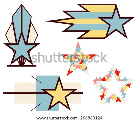 Set of colorful vector stars  - stock vector