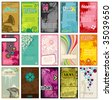 set of colorful vertical business cards in different styles (2x3,5'') - stock vector