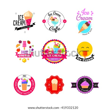 Set of colorful vintage and modern ice cream shop logo badges and labels. Flat ice cream logos.  - stock vector