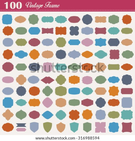 Set of 100 colorful vintage frame.Vector eps10 - stock vector