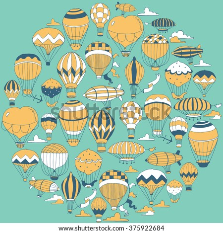 Set of Colorful Vintage Hot Air Balloons in the sky