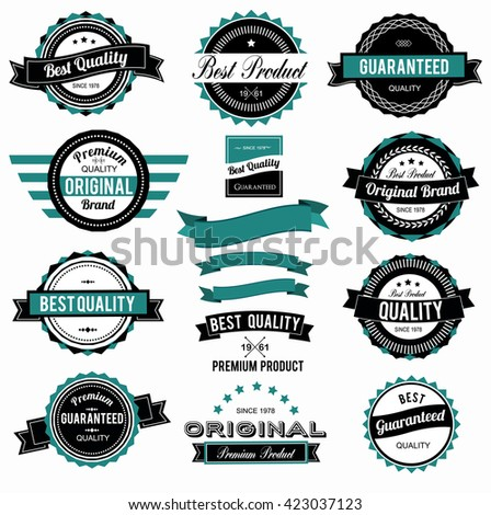 Set of colorful vintage labels with different colors