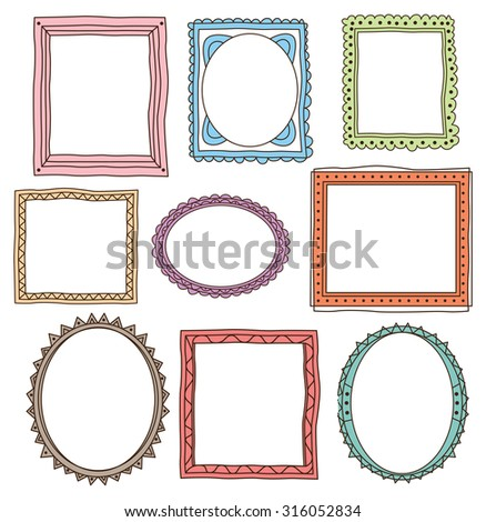 set of colorful vintage photo frame in doodle style - stock vector