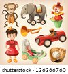 Set of colorful vintage toys for kids. - stock