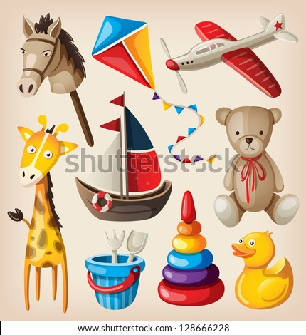 Set of colorful vintage toys for kids. - stock vector